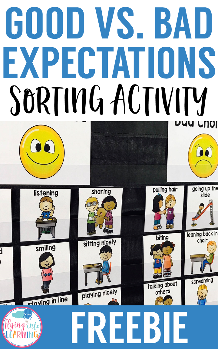 Setting expectations freebie for primary learners is perfect for your back to school lessons.  Watch your students learn how to become responsible citizens by reviewing these key good versus bad behaviors!